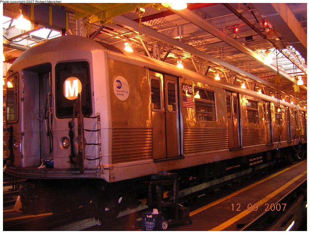 (323k, 1044x788)<br><b>Country:</b> United States<br><b>City:</b> New York<br><b>System:</b> New York City Transit<br><b>Location:</b> East New York Yard/Shops<br><b>Car:</b> R-42 (St. Louis, 1969-1970) 4618 <br><b>Photo by:</b> Robert Mencher<br><b>Date:</b> 12/9/2007<br><b>Viewed (this week/total):</b> 4 / 2064