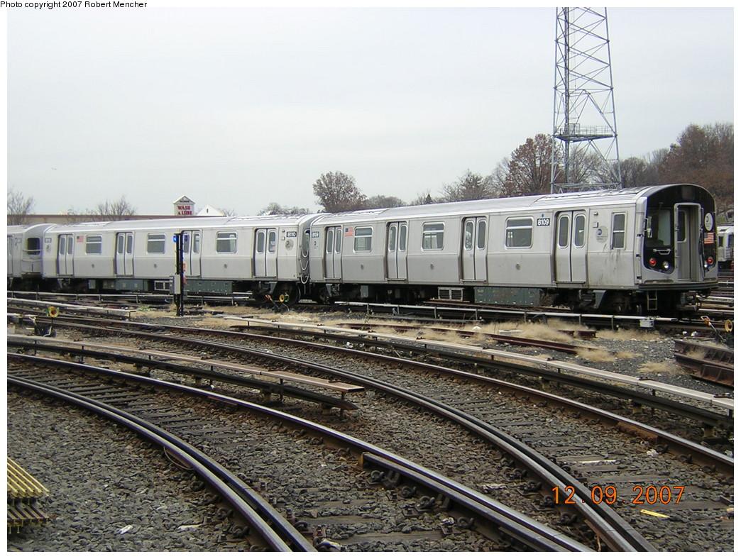 (295k, 1044x788)<br><b>Country:</b> United States<br><b>City:</b> New York<br><b>System:</b> New York City Transit<br><b>Location:</b> East New York Yard/Shops<br><b>Car:</b> R-143 (Kawasaki, 2001-2002) 8109 <br><b>Photo by:</b> Robert Mencher<br><b>Date:</b> 12/9/2007<br><b>Viewed (this week/total):</b> 2 / 2671