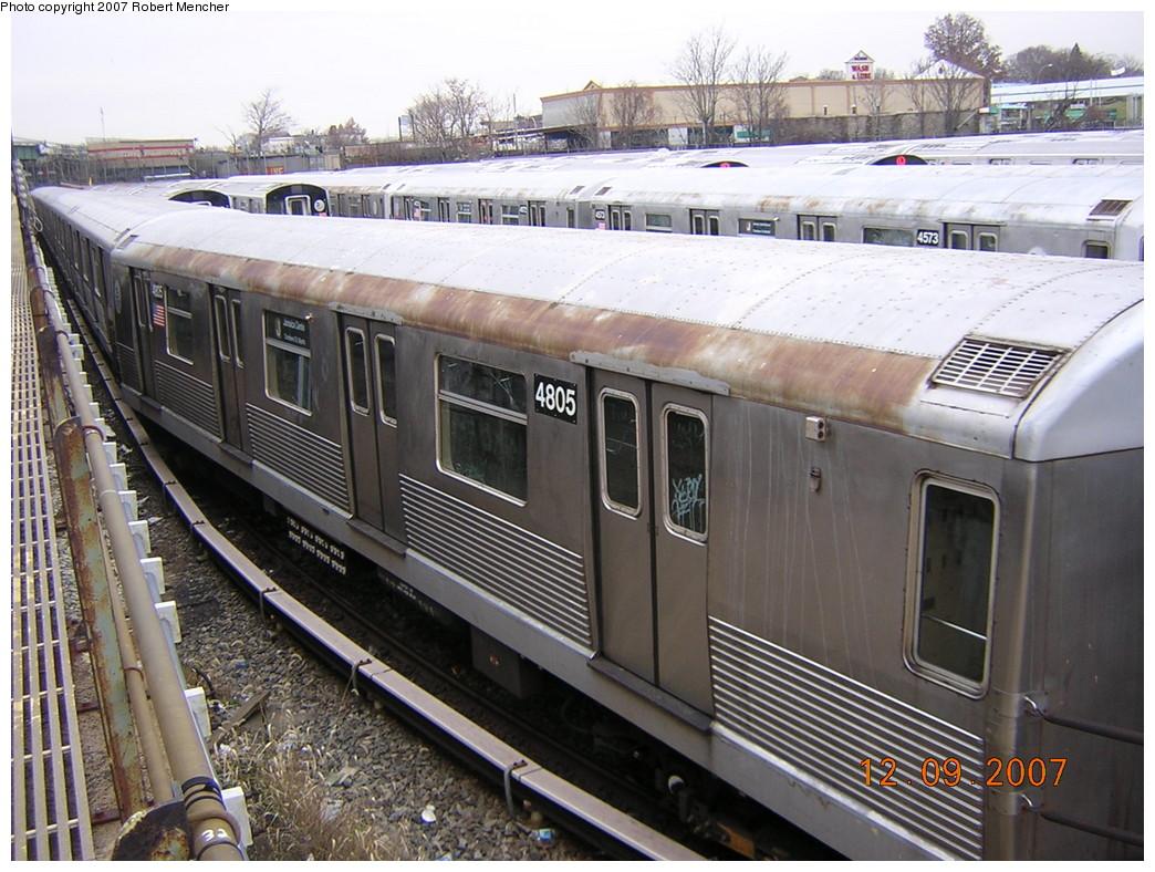 (283k, 1044x788)<br><b>Country:</b> United States<br><b>City:</b> New York<br><b>System:</b> New York City Transit<br><b>Location:</b> East New York Yard/Shops<br><b>Car:</b> R-42 (St. Louis, 1969-1970) 4805 <br><b>Photo by:</b> Robert Mencher<br><b>Date:</b> 12/9/2007<br><b>Viewed (this week/total):</b> 2 / 1924