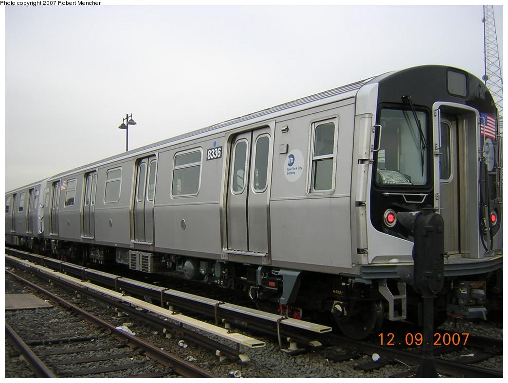 (221k, 1044x788)<br><b>Country:</b> United States<br><b>City:</b> New York<br><b>System:</b> New York City Transit<br><b>Location:</b> East New York Yard/Shops<br><b>Car:</b> R-160A-1 (Alstom, 2005-2008, 4 car sets) 8336 <br><b>Photo by:</b> Robert Mencher<br><b>Date:</b> 12/9/2007<br><b>Viewed (this week/total):</b> 0 / 1729