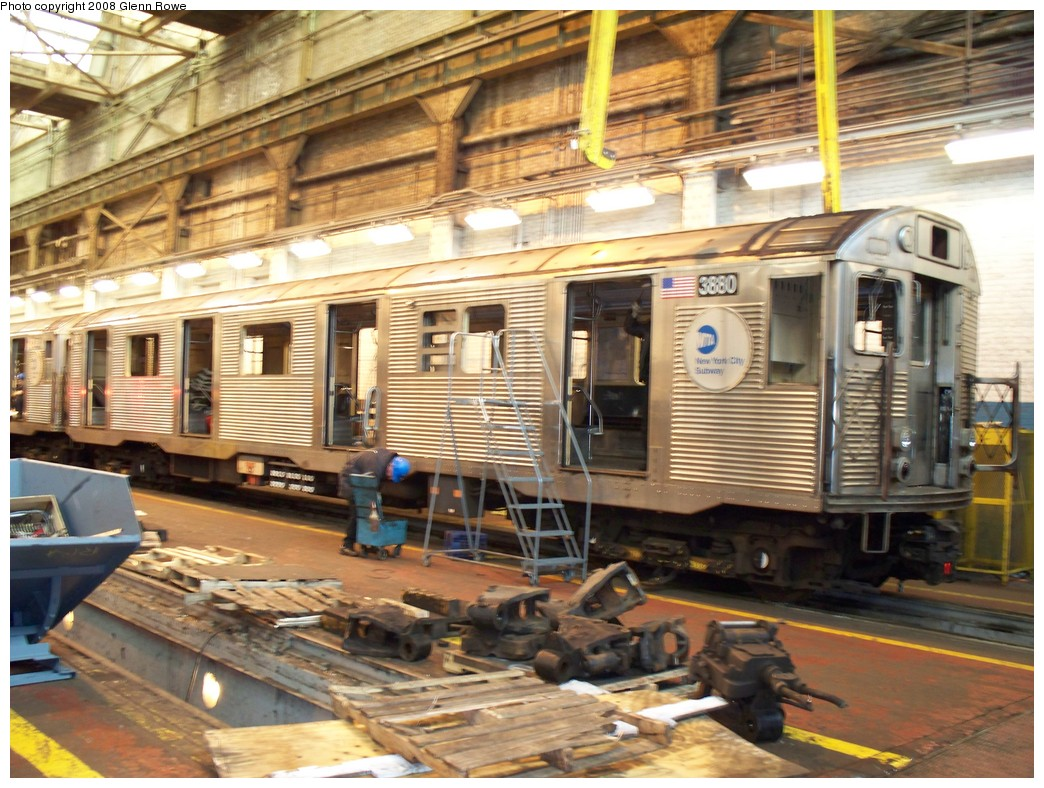 (260k, 1044x788)<br><b>Country:</b> United States<br><b>City:</b> New York<br><b>System:</b> New York City Transit<br><b>Location:</b> 207th Street Shop<br><b>Car:</b> R-32 (GE Rebuild) 3880 <br><b>Photo by:</b> Glenn L. Rowe<br><b>Date:</b> 1/4/2008<br><b>Notes:</b> Being stripped for scrapping along with 3881 and 3934.<br><b>Viewed (this week/total):</b> 1 / 4168
