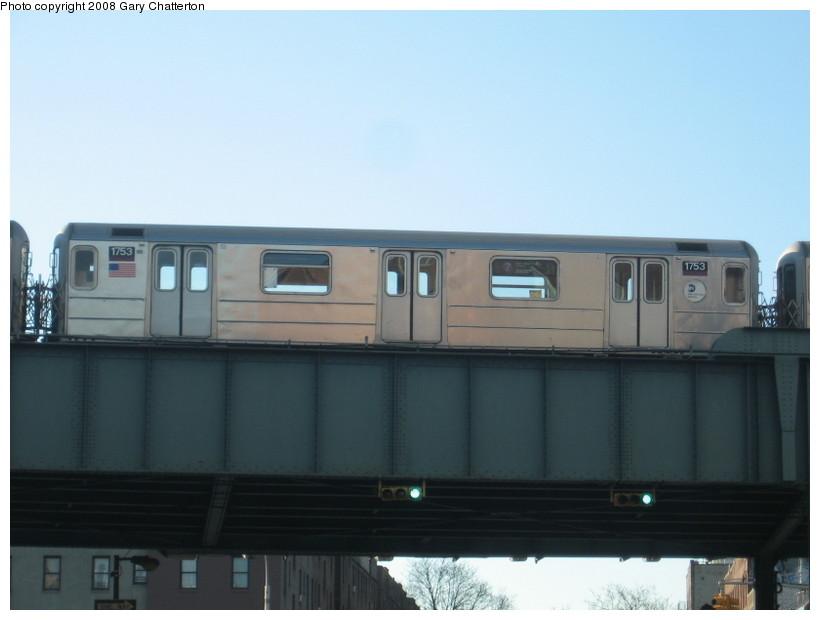 (79k, 820x620)<br><b>Country:</b> United States<br><b>City:</b> New York<br><b>System:</b> New York City Transit<br><b>Line:</b> IRT Flushing Line<br><b>Location:</b> 46th Street/Bliss Street<br><b>Route:</b> 7<br><b>Car:</b> R-62A (Bombardier, 1984-1987) 1753 <br><b>Photo by:</b> Gary Chatterton<br><b>Date:</b> 1/12/2008<br><b>Viewed (this week/total):</b> 0 / 2134