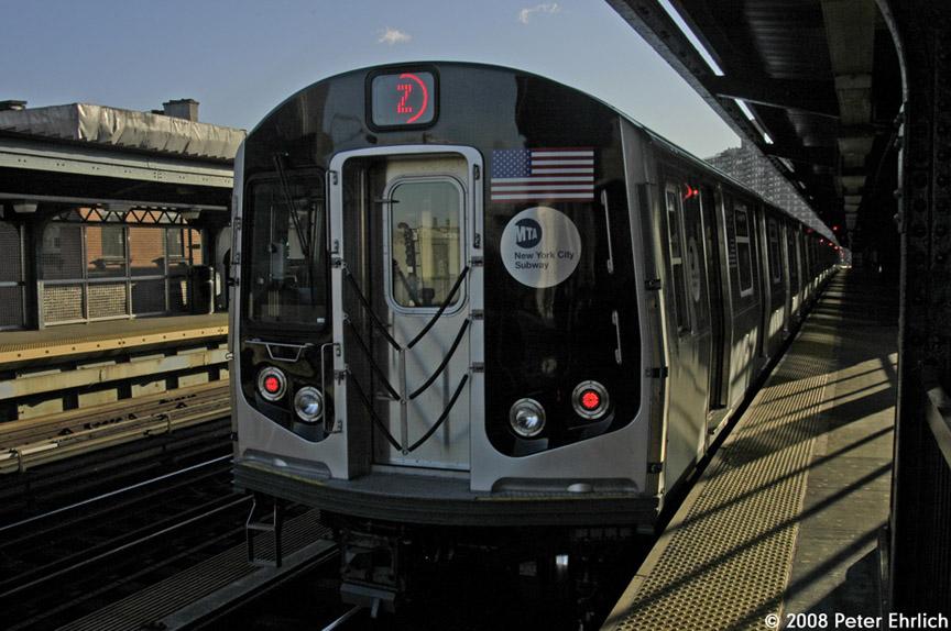 (183k, 864x574)<br><b>Country:</b> United States<br><b>City:</b> New York<br><b>System:</b> New York City Transit<br><b>Line:</b> BMT Nassau Street-Jamaica Line<br><b>Location:</b> Hewes Street<br><b>Route:</b> Z<br><b>Car:</b> R-160A-1 (Alstom, 2005-2008, 4 car sets) 8365 <br><b>Photo by:</b> Peter Ehrlich<br><b>Date:</b> 1/3/2008<br><b>Notes:</b> Hewes Street outbound, trailing view.<br><b>Viewed (this week/total):</b> 3 / 2603