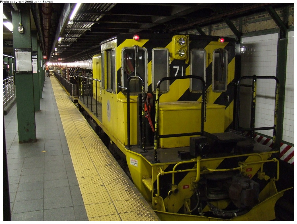 (242k, 1044x788)<br><b>Country:</b> United States<br><b>City:</b> New York<br><b>System:</b> New York City Transit<br><b>Line:</b> IRT West Side Line<br><b>Location:</b> Times Square/42nd Street<br><b>Route:</b> Work Service<br><b>Car:</b> R-52 Locomotive 71 <br><b>Photo by:</b> John Barnes<br><b>Date:</b> 4/21/2007<br><b>Viewed (this week/total):</b> 0 / 2834