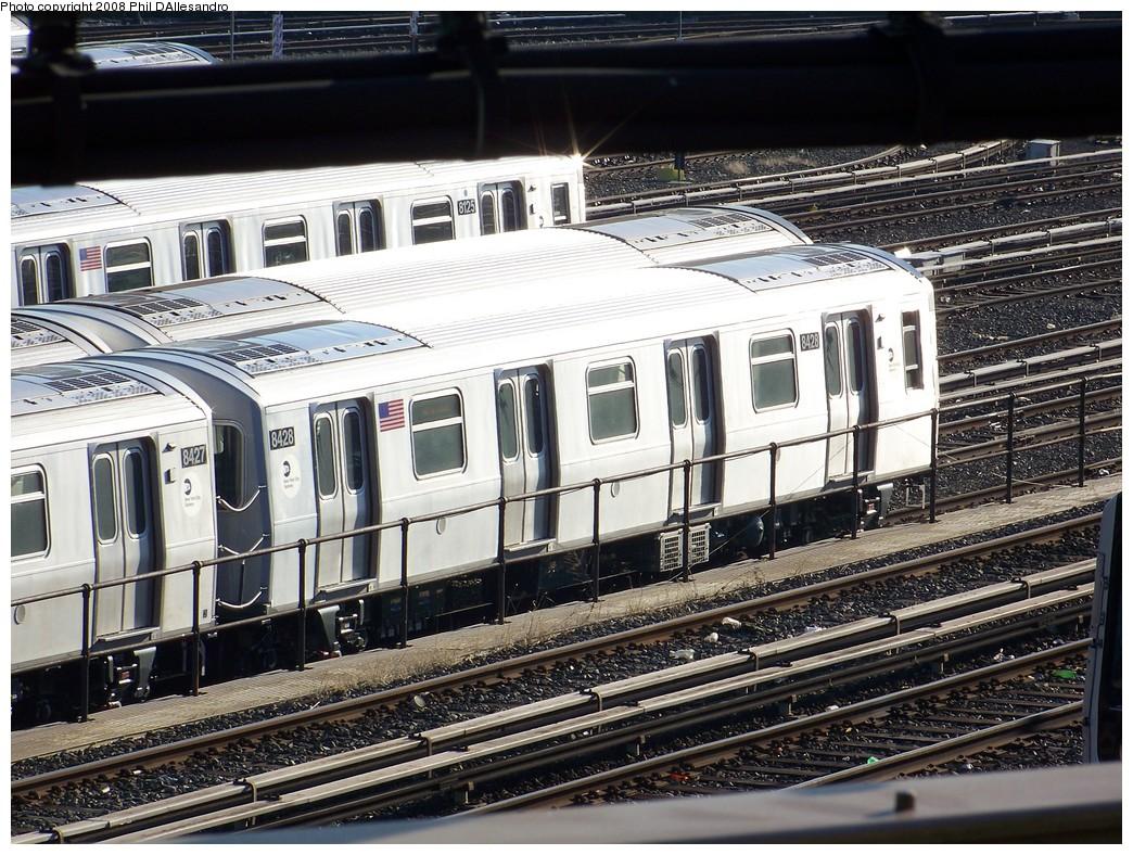 (293k, 1044x788)<br><b>Country:</b> United States<br><b>City:</b> New York<br><b>System:</b> New York City Transit<br><b>Location:</b> East New York Yard/Shops<br><b>Car:</b> R-160A-1 (Alstom, 2005-2008, 4 car sets) 8428 <br><b>Photo by:</b> Philip D'Allesandro<br><b>Date:</b> 1/23/2008<br><b>Viewed (this week/total):</b> 0 / 2771