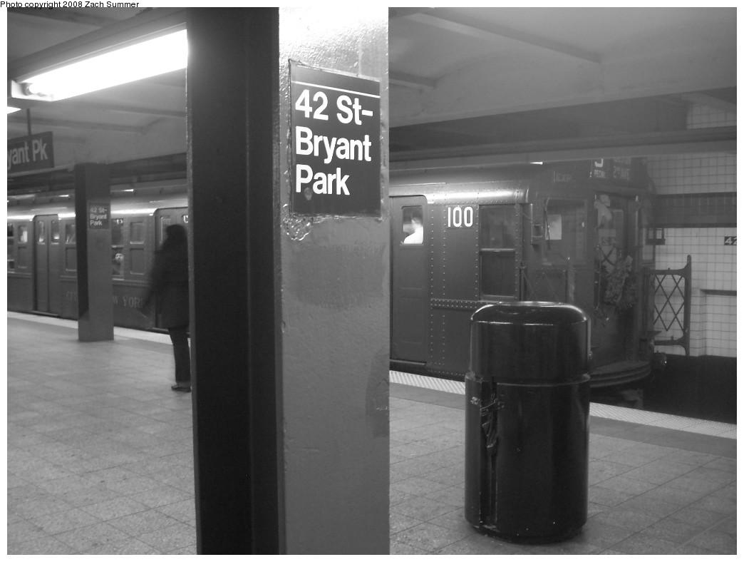 (164k, 1044x788)<br><b>Country:</b> United States<br><b>City:</b> New York<br><b>System:</b> New York City Transit<br><b>Line:</b> IND 6th Avenue Line<br><b>Location:</b> 42nd Street/Bryant Park<br><b>Route:</b> Museum Train Service (V)<br><b>Car:</b> R-1 (American Car & Foundry, 1930-1931) 100 <br><b>Photo by:</b> Zach Summer<br><b>Date:</b> 12/16/2007<br><b>Notes:</b> Nostalgia train service.<br><b>Viewed (this week/total):</b> 2 / 2643