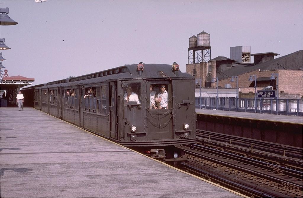 (192k, 1024x670)<br><b>Country:</b> United States<br><b>City:</b> New York<br><b>System:</b> New York City Transit<br><b>Line:</b> IRT Flushing Line<br><b>Location:</b> 103rd Street/Corona Plaza<br><b>Route:</b> Fan Trip<br><b>Car:</b> Low-V (Museum Train) 5292 <br><b>Photo by:</b> Joe Testagrose<br><b>Date:</b> 6/22/1975<br><b>Viewed (this week/total):</b> 5 / 4621