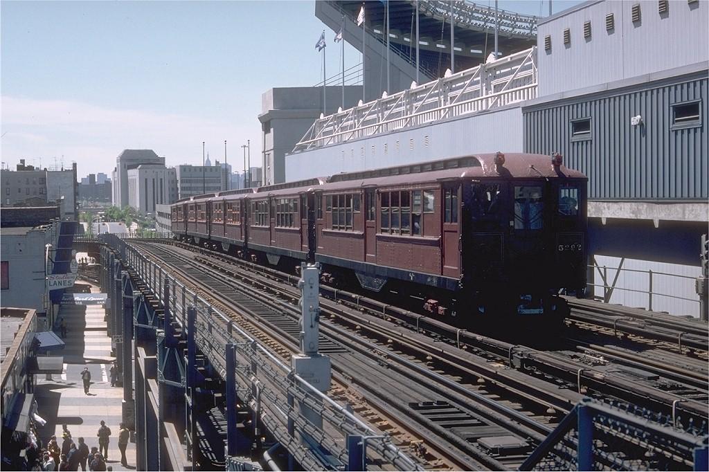 (234k, 1024x682)<br><b>Country:</b> United States<br><b>City:</b> New York<br><b>System:</b> New York City Transit<br><b>Line:</b> IRT Woodlawn Line<br><b>Location:</b> 161st Street-River Avenue (Yankee Stadium)<br><b>Route:</b> Fan Trip<br><b>Car:</b> Low-V (Museum Train) 5292 <br><b>Photo by:</b> Doug Grotjahn<br><b>Collection of:</b> Joe Testagrose<br><b>Date:</b> 5/5/1979<br><b>Viewed (this week/total):</b> 1 / 6371