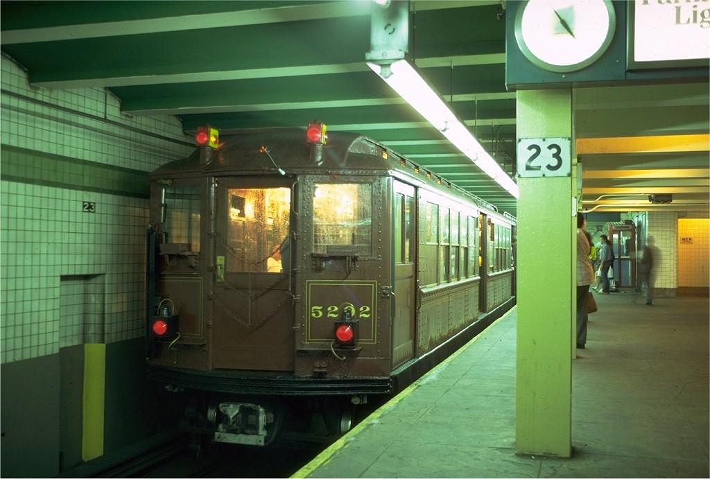 (176k, 1024x691)<br><b>Country:</b> United States<br><b>City:</b> New York<br><b>System:</b> New York City Transit<br><b>Line:</b> IND 6th Avenue Line<br><b>Location:</b> 23rd Street<br><b>Route:</b> Fan Trip<br><b>Car:</b> Low-V (Museum Train) 5292 <br><b>Photo by:</b> Doug Grotjahn<br><b>Collection of:</b> Joe Testagrose<br><b>Date:</b> 5/12/1979<br><b>Viewed (this week/total):</b> 0 / 5498