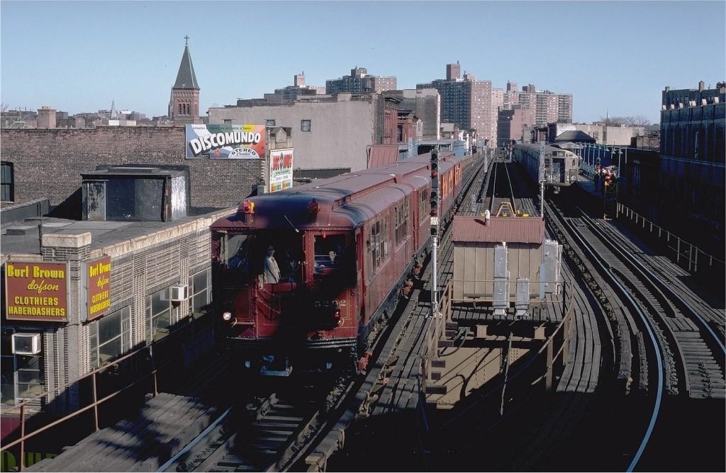 (237k, 1024x668)<br><b>Country:</b> United States<br><b>City:</b> New York<br><b>System:</b> New York City Transit<br><b>Line:</b> BMT Nassau Street-Jamaica Line<br><b>Location:</b> Marcy Avenue<br><b>Route:</b> Fan Trip<br><b>Car:</b> Low-V (Museum Train) 5292 <br><b>Photo by:</b> Steve Zabel<br><b>Collection of:</b> Joe Testagrose<br><b>Date:</b> 3/23/1979<br><b>Viewed (this week/total):</b> 5 / 4448