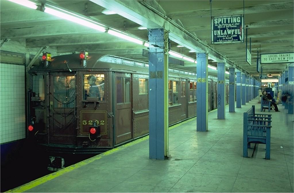 (196k, 1024x675)<br><b>Country:</b> United States<br><b>City:</b> New York<br><b>System:</b> New York City Transit<br><b>Line:</b> IRT Brooklyn Line<br><b>Location:</b> Utica Avenue<br><b>Route:</b> Fan Trip<br><b>Car:</b> Low-V (Museum Train) 5292 <br><b>Photo by:</b> Joe Testagrose<br><b>Date:</b> 11/3/1979<br><b>Viewed (this week/total):</b> 1 / 8289