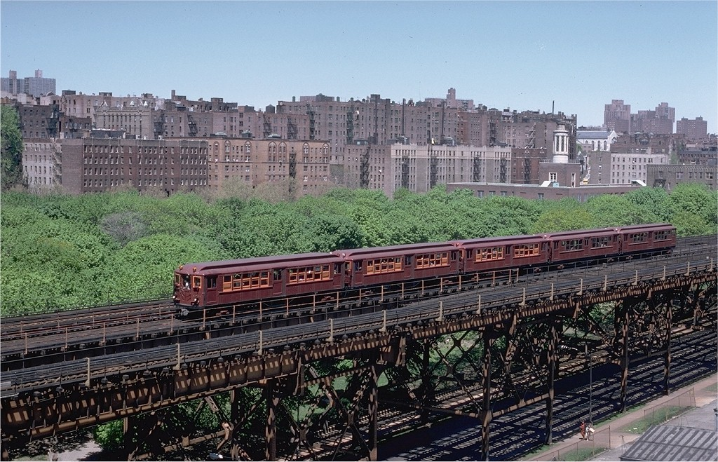 (279k, 1024x659)<br><b>Country:</b> United States<br><b>City:</b> New York<br><b>System:</b> New York City Transit<br><b>Line:</b> IRT Woodlawn Line<br><b>Location:</b> 161st Street-River Avenue (Yankee Stadium)<br><b>Route:</b> Fan Trip<br><b>Car:</b> Low-V (Museum Train) 5443 <br><b>Photo by:</b> Steve Zabel<br><b>Collection of:</b> Joe Testagrose<br><b>Date:</b> 5/5/1979<br><b>Viewed (this week/total):</b> 1 / 5781