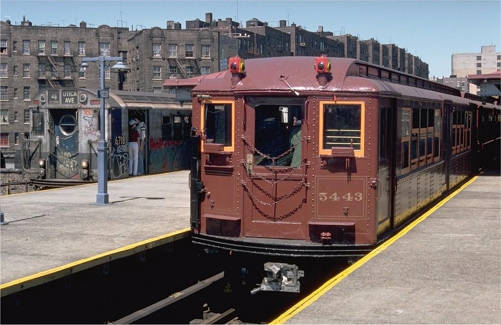 (224k, 1024x665)<br><b>Country:</b> United States<br><b>City:</b> New York<br><b>System:</b> New York City Transit<br><b>Line:</b> IRT Woodlawn Line<br><b>Location:</b> Burnside Avenue<br><b>Route:</b> Fan Trip<br><b>Car:</b> Low-V (Museum Train) 5443 <br><b>Photo by:</b> Doug Grotjahn<br><b>Collection of:</b> Joe Testagrose<br><b>Date:</b> 5/5/1979<br><b>Viewed (this week/total):</b> 0 / 3963