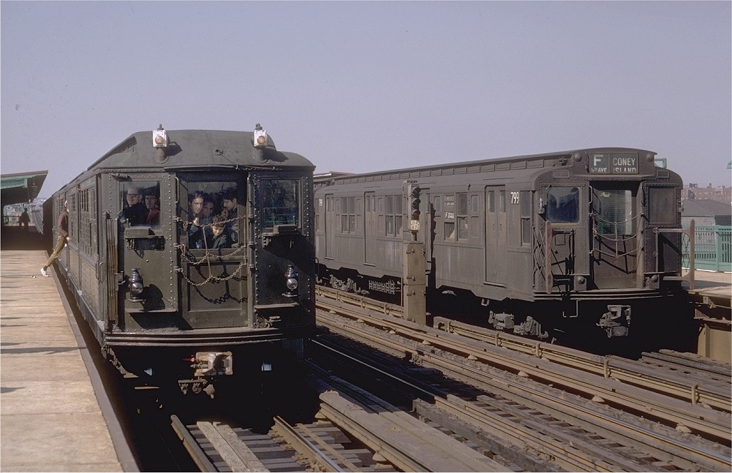 (173k, 1024x663)<br><b>Country:</b> United States<br><b>City:</b> New York<br><b>System:</b> New York City Transit<br><b>Line:</b> BMT Culver Line<br><b>Location:</b> Bay Parkway (22nd Avenue)<br><b>Route:</b> Fan Trip<br><b>Car:</b> Low-V (Museum Train) 5443 <br><b>Photo by:</b> Doug Grotjahn<br><b>Collection of:</b> Joe Testagrose<br><b>Date:</b> 4/6/1968<br><b>Notes:</b> With R4 799.<br><b>Viewed (this week/total):</b> 1 / 3270