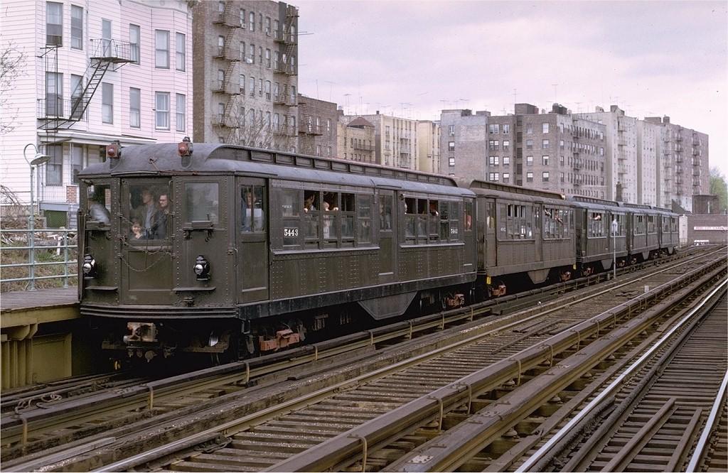 (241k, 1024x666)<br><b>Country:</b> United States<br><b>City:</b> New York<br><b>System:</b> New York City Transit<br><b>Line:</b> 3rd Avenue El<br><b>Location:</b> 210th Street<br><b>Route:</b> Fan Trip<br><b>Car:</b> Low-V (Museum Train) 5443 <br><b>Photo by:</b> Joe Testagrose<br><b>Date:</b> 4/29/1973<br><b>Notes:</b> Fantrip held day after closure of 3rd Avenue El<br><b>Viewed (this week/total):</b> 1 / 7274
