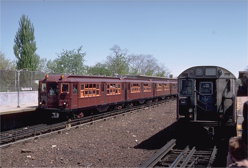 (248k, 1024x697)<br><b>Country:</b> United States<br><b>City:</b> New York<br><b>System:</b> New York City Transit<br><b>Line:</b> IRT Dyre Ave. Line<br><b>Location:</b> Baychester Avenue<br><b>Route:</b> Fan Trip<br><b>Car:</b> Low-V (Museum Train) 5443 <br><b>Photo by:</b> Steve Zabel<br><b>Collection of:</b> Joe Testagrose<br><b>Date:</b> 5/5/1979<br><b>Viewed (this week/total):</b> 0 / 4542