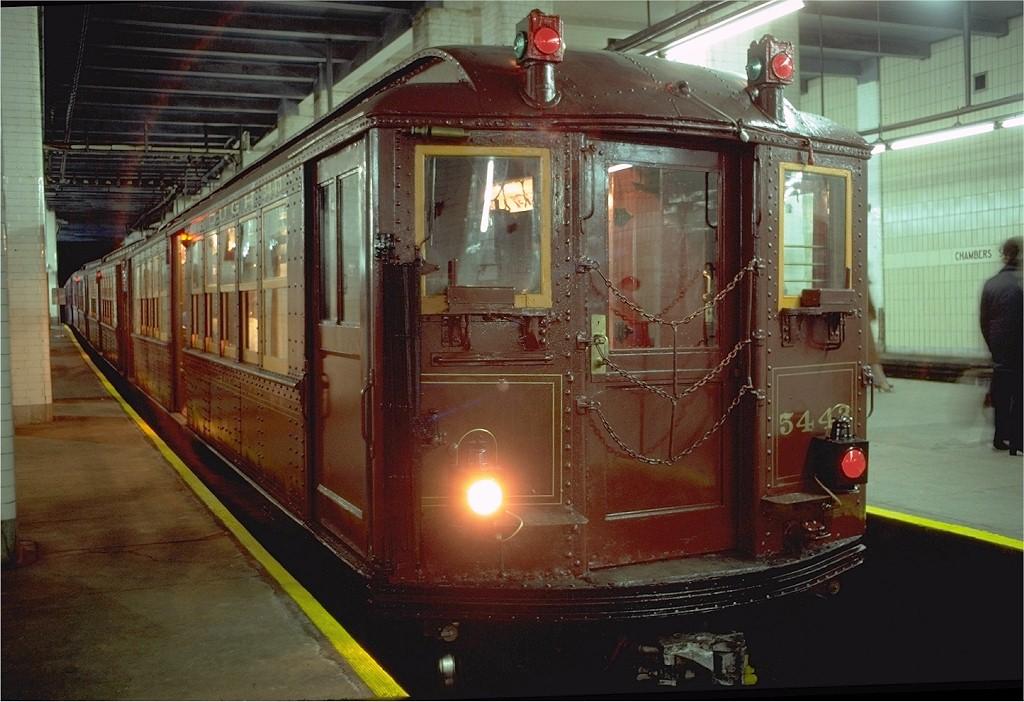 (201k, 1024x702)<br><b>Country:</b> United States<br><b>City:</b> New York<br><b>System:</b> New York City Transit<br><b>Line:</b> BMT Nassau Street-Jamaica Line<br><b>Location:</b> Chambers Street<br><b>Route:</b> Fan Trip<br><b>Car:</b> Low-V (Museum Train) 5443 <br><b>Photo by:</b> Joe Testagrose<br><b>Date:</b> 3/23/1979<br><b>Viewed (this week/total):</b> 0 / 11295