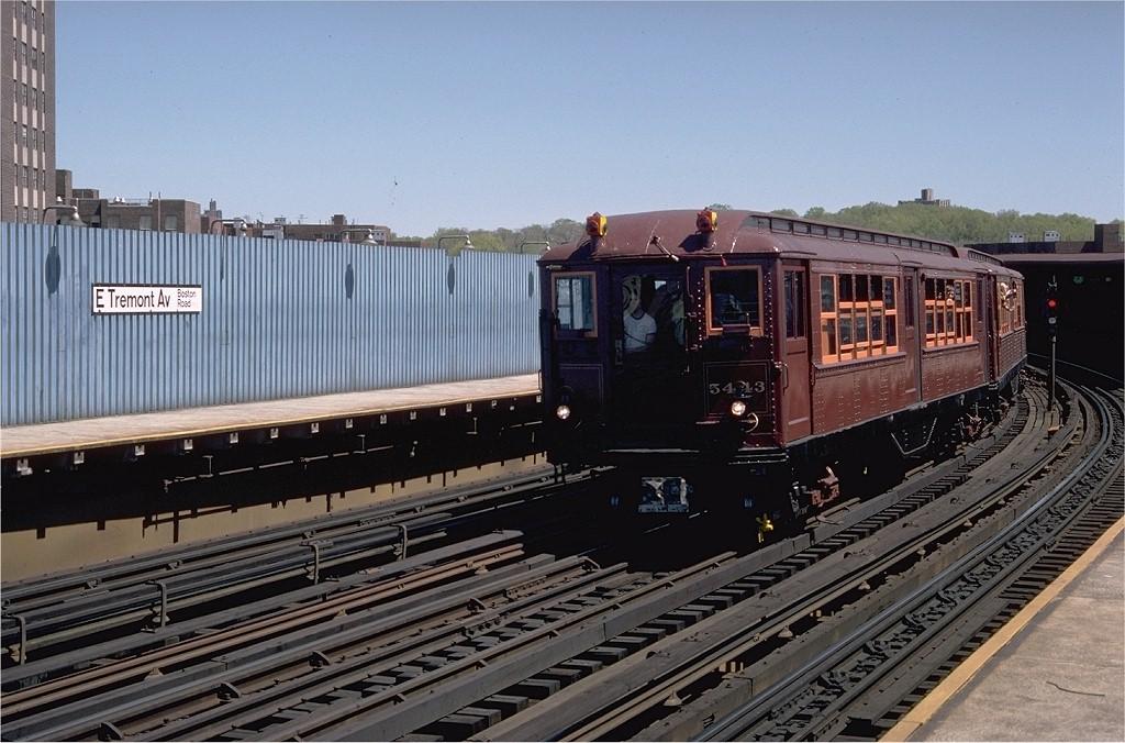 (205k, 1024x676)<br><b>Country:</b> United States<br><b>City:</b> New York<br><b>System:</b> New York City Transit<br><b>Line:</b> IRT White Plains Road Line<br><b>Location:</b> West Farms Sq./East Tremont Ave./177th St.<br><b>Route:</b> Fan Trip<br><b>Car:</b> Low-V (Museum Train) 5443 <br><b>Photo by:</b> Doug Grotjahn<br><b>Collection of:</b> Joe Testagrose<br><b>Date:</b> 5/5/1979<br><b>Viewed (this week/total):</b> 2 / 3677