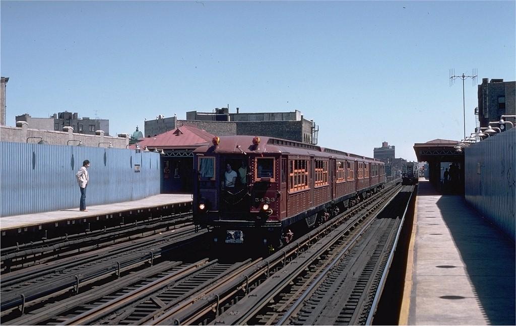 (184k, 1024x648)<br><b>Country:</b> United States<br><b>City:</b> New York<br><b>System:</b> New York City Transit<br><b>Line:</b> IRT White Plains Road Line<br><b>Location:</b> Prospect Avenue<br><b>Route:</b> Fan Trip<br><b>Car:</b> Low-V (Museum Train) 5443 <br><b>Photo by:</b> Steve Zabel<br><b>Collection of:</b> Joe Testagrose<br><b>Date:</b> 5/5/1979<br><b>Viewed (this week/total):</b> 1 / 3815