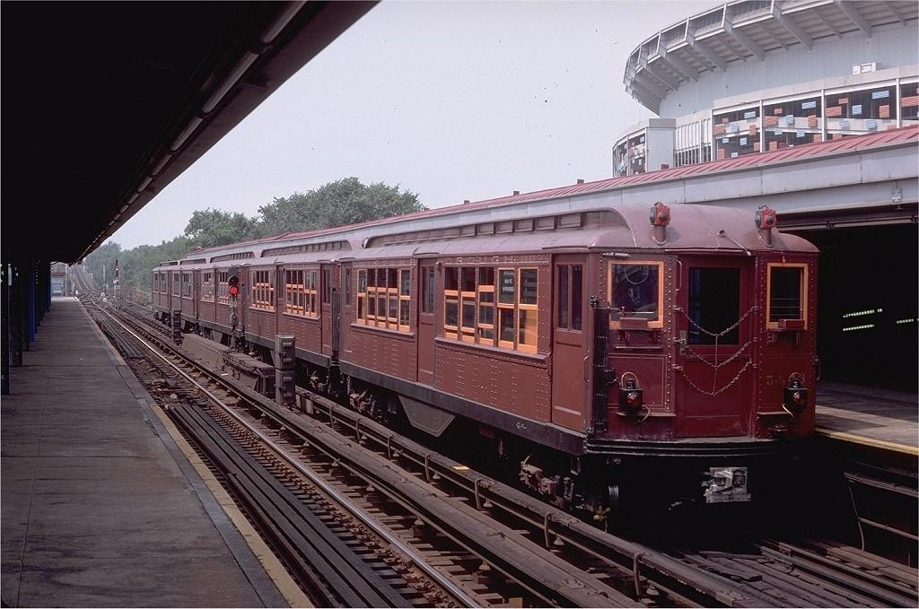 (219k, 1024x679)<br><b>Country:</b> United States<br><b>City:</b> New York<br><b>System:</b> New York City Transit<br><b>Line:</b> IRT Flushing Line<br><b>Location:</b> Willets Point/Mets (fmr. Shea Stadium)<br><b>Route:</b> Fan Trip<br><b>Car:</b> Low-V (Museum Train) 5443 <br><b>Photo by:</b> Doug Grotjahn<br><b>Collection of:</b> Joe Testagrose<br><b>Date:</b> 8/1/1979<br><b>Viewed (this week/total):</b> 0 / 4231
