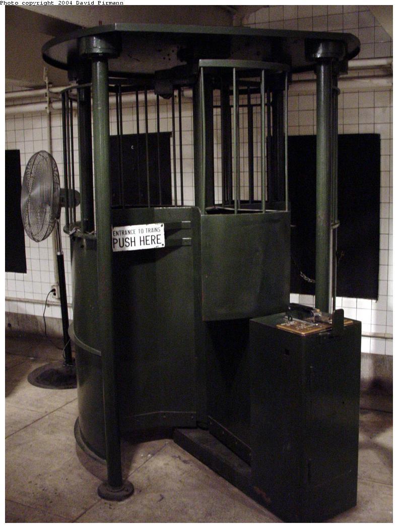 (114k, 790x1047)<br><b>Country:</b> United States<br><b>City:</b> New York<br><b>System:</b> New York City Transit<br><b>Location:</b> New York Transit Museum<br><b>Photo by:</b> David Pirmann<br><b>Date:</b> 6/18/2000<br><b>Notes:</b> Token High Entry Turnstile aka Iron Maiden-fare collection exhibit at the New York Transit Museum<br><b>Viewed (this week/total):</b> 1 / 33909