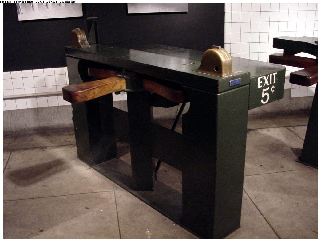 (99k, 1044x788)<br><b>Country:</b> United States<br><b>City:</b> New York<br><b>System:</b> New York City Transit<br><b>Location:</b> New York Transit Museum<br><b>Photo by:</b> David Pirmann<br><b>Date:</b> 6/18/2000<br><b>Notes:</b> 1939 Worlds Fair pay-to-exit wooden turnstile-fare collection exhibit at the New York Transit Museum<br><b>Viewed (this week/total):</b> 6 / 24682