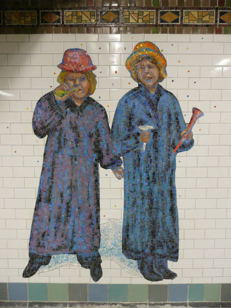 (117k, 750x1000)<br><b>Country:</b> United States<br><b>City:</b> New York<br><b>System:</b> New York City Transit<br><b>Line:</b> IRT West Side Line<br><b>Location:</b> Times Square/42nd Street<br><b>Photo by:</b> Robbie Rosenfeld<br><b>Date:</b> 2/4/2008<br><b>Artwork:</b> <i>The Revelers</i>, Jane Dickson, 2007<br><b>Viewed (this week/total):</b> 3 / 1885