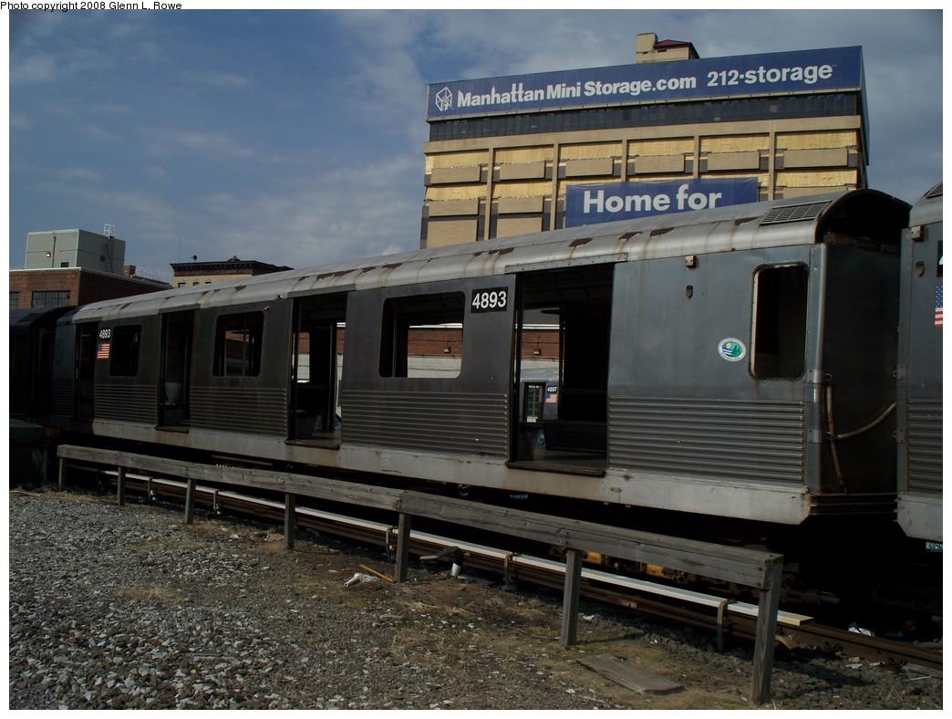 (222k, 1044x788)<br><b>Country:</b> United States<br><b>City:</b> New York<br><b>System:</b> New York City Transit<br><b>Location:</b> 207th Street Yard<br><b>Car:</b> R-42 (St. Louis, 1969-1970) 4893 <br><b>Photo by:</b> Glenn L. Rowe<br><b>Date:</b> 3/3/2008<br><b>Viewed (this week/total):</b> 0 / 1376