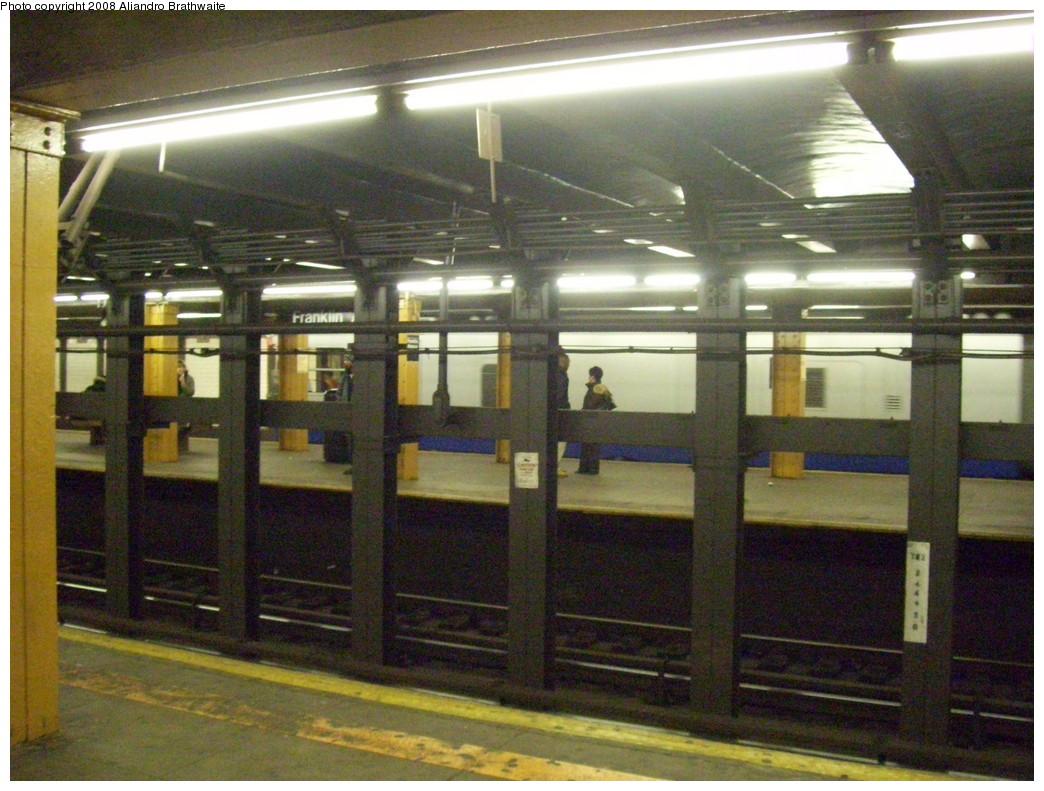 (252k, 1044x791)<br><b>Country:</b> United States<br><b>City:</b> New York<br><b>System:</b> New York City Transit<br><b>Line:</b> IRT Brooklyn Line<br><b>Location:</b> Franklin Avenue<br><b>Photo by:</b> Aliandro Brathwaite<br><b>Date:</b> 3/7/2008<br><b>Notes:</b> Hard to see-- note Track Geometry Car on far track.<br><b>Viewed (this week/total):</b> 1 / 3326