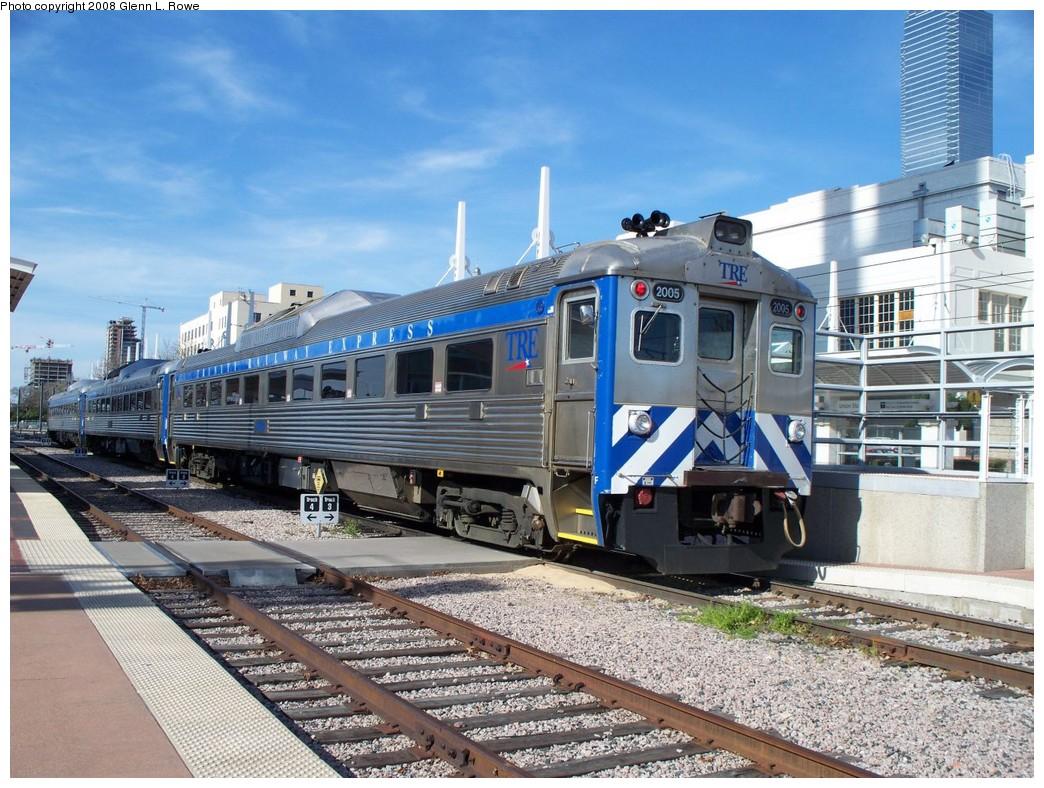 (268k, 1044x788)<br><b>Country:</b> United States<br><b>City:</b> Dallas, TX<br><b>System:</b> Trinity Railway Express<br><b>Location:</b> Union Station<br><b>Car:</b>  2005/2006/2002 <br><b>Photo by:</b> Glenn L. Rowe<br><b>Date:</b> 3/12/2008<br><b>Viewed (this week/total):</b> 0 / 2128