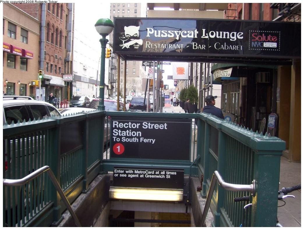 (228k, 1044x790)<br><b>Country:</b> United States<br><b>City:</b> New York<br><b>System:</b> New York City Transit<br><b>Line:</b> IRT West Side Line<br><b>Location:</b> Rector Street<br><b>Photo by:</b> Roberto C. Tobar<br><b>Date:</b> 4/12/2008<br><b>Notes:</b> Station entrance.<br><b>Viewed (this week/total):</b> 2 / 4435