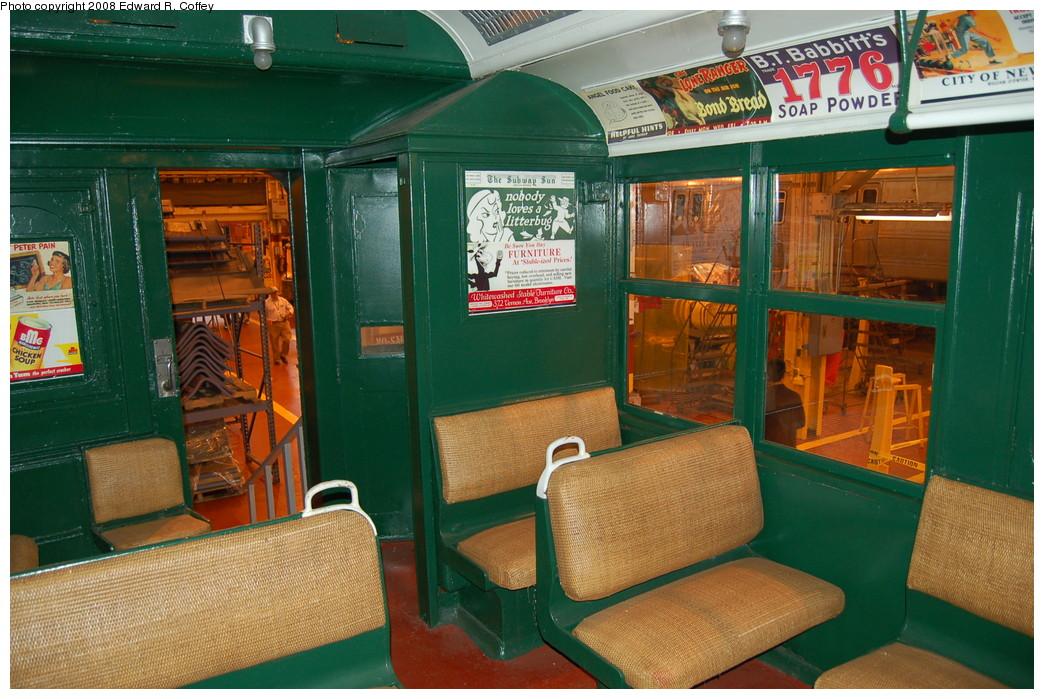 (298k, 1044x699)<br><b>Country:</b> United States<br><b>City:</b> New York<br><b>System:</b> New York City Transit<br><b>Location:</b> Coney Island Shop/Overhaul & Repair Shop<br><b>Car:</b> BMT A/B-Type Standard 2392 <br><b>Photo by:</b> Edward R. Coffey<br><b>Date:</b> 4/12/2008<br><b>Notes:</b> Restored interior.<br><b>Viewed (this week/total):</b> 5 / 4060