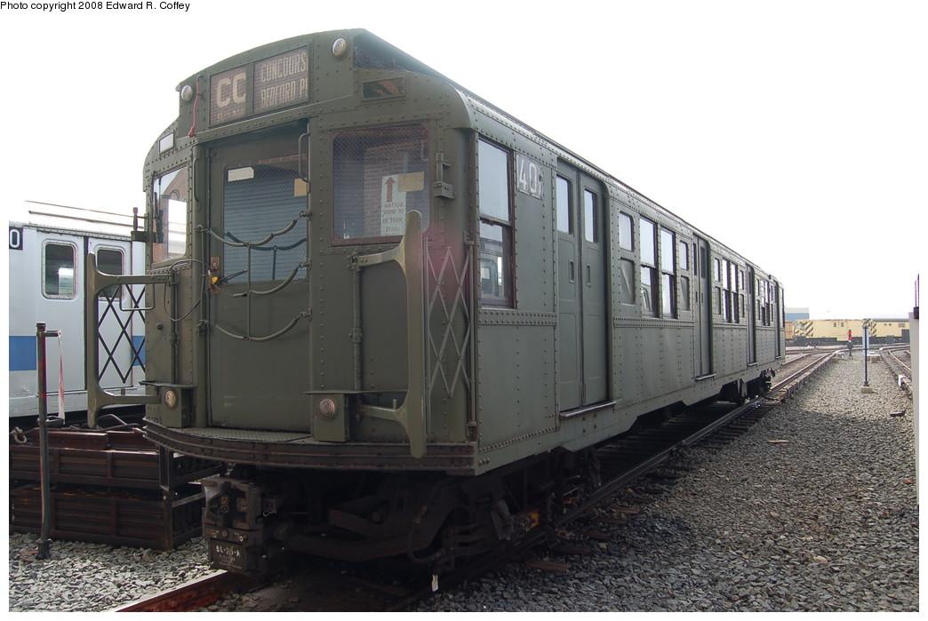 (243k, 1044x699)<br><b>Country:</b> United States<br><b>City:</b> New York<br><b>System:</b> New York City Transit<br><b>Location:</b> Coney Island Yard<br><b>Car:</b> R-4 (American Car & Foundry, 1932-1933) 401 <br><b>Photo by:</b> Edward R. Coffey<br><b>Date:</b> 4/12/2008<br><b>Viewed (this week/total):</b> 6 / 3272
