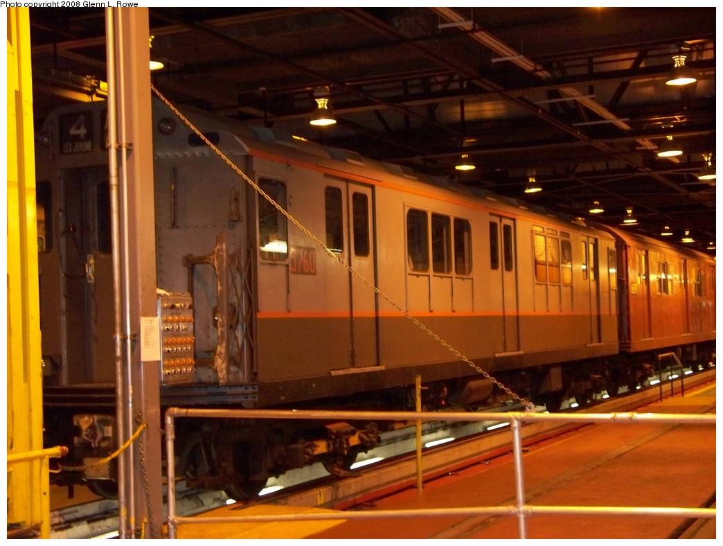 (208k, 1044x788)<br><b>Country:</b> United States<br><b>City:</b> New York<br><b>System:</b> New York City Transit<br><b>Location:</b> 207th Street Shop<br><b>Car:</b> R-12 (American Car & Foundry, 1948) 5760 <br><b>Photo by:</b> Glenn L. Rowe<br><b>Date:</b> 5/5/2008<br><b>Viewed (this week/total):</b> 1 / 1676