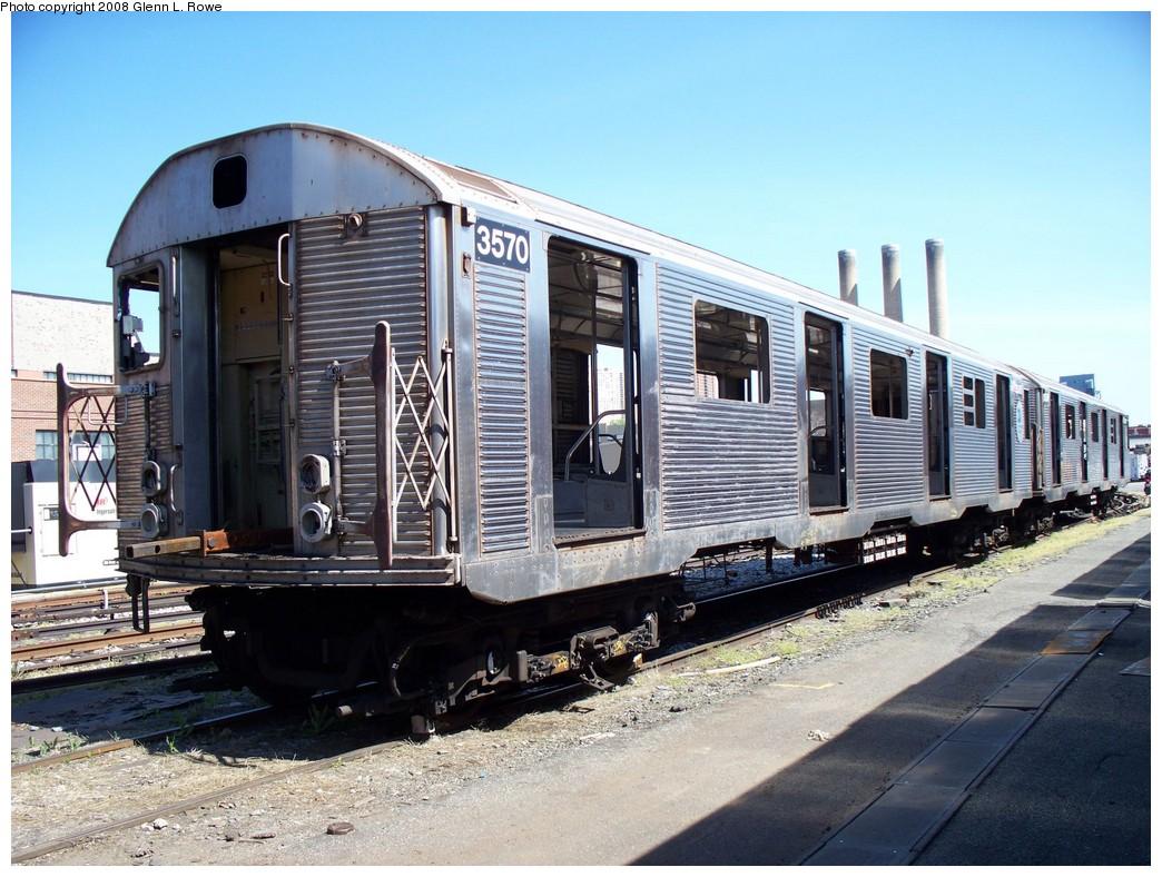 (245k, 1044x788)<br><b>Country:</b> United States<br><b>City:</b> New York<br><b>System:</b> New York City Transit<br><b>Location:</b> 207th Street Yard<br><b>Car:</b> R-32 (Budd, 1964) 3570 <br><b>Photo by:</b> Glenn L. Rowe<br><b>Date:</b> 5/5/2008<br><b>Viewed (this week/total):</b> 2 / 1748