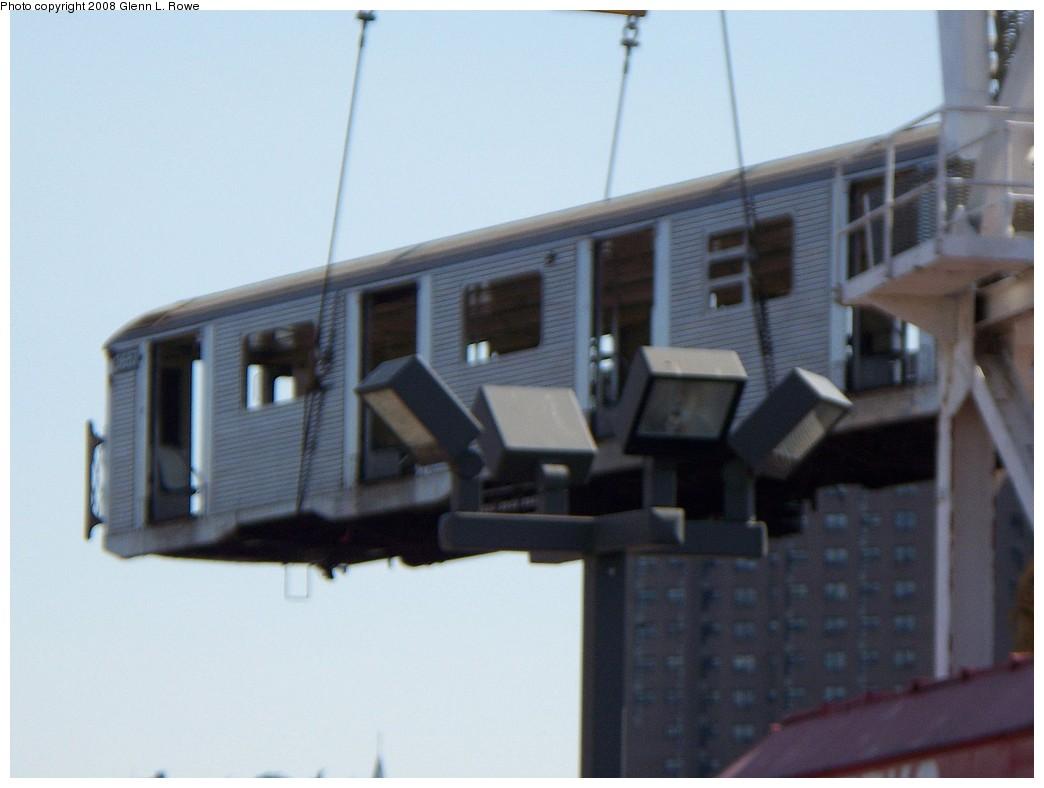 (142k, 1044x788)<br><b>Country:</b> United States<br><b>City:</b> New York<br><b>System:</b> New York City Transit<br><b>Location:</b> 207th Street Yard<br><b>Car:</b> R-32 (Budd, 1964) 3657 <br><b>Photo by:</b> Glenn L. Rowe<br><b>Date:</b> 5/5/2008<br><b>Notes:</b> Barge-Scrapping<br><b>Viewed (this week/total):</b> 1 / 2877