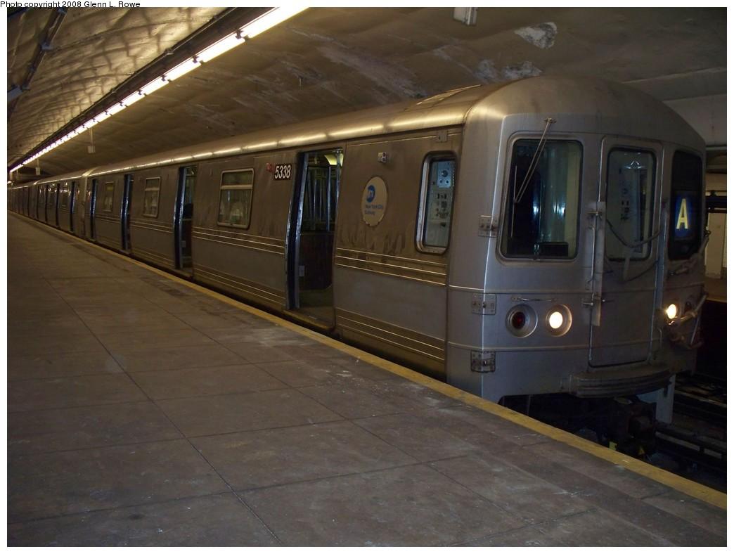 (177k, 1044x788)<br><b>Country:</b> United States<br><b>City:</b> New York<br><b>System:</b> New York City Transit<br><b>Line:</b> IND 8th Avenue Line<br><b>Location:</b> 190th Street/Overlook Terrace<br><b>Route:</b> A<br><b>Car:</b> R-44 (St. Louis, 1971-73) 5338 <br><b>Photo by:</b> Glenn L. Rowe<br><b>Date:</b> 5/5/2008<br><b>Viewed (this week/total):</b> 1 / 1928