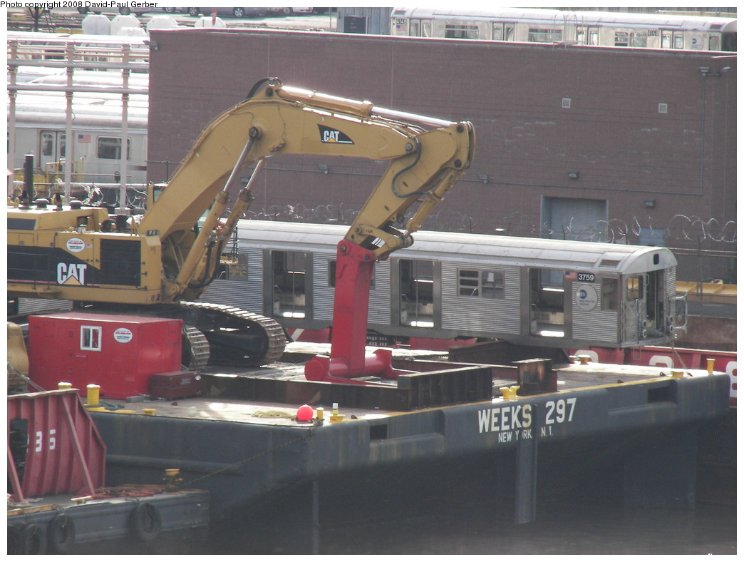 (253k, 1044x788)<br><b>Country:</b> United States<br><b>City:</b> New York<br><b>System:</b> New York City Transit<br><b>Location:</b> 207th Street Yard<br><b>Car:</b> R-32 (Budd, 1964) 3759 <br><b>Photo by:</b> David-Paul Gerber<br><b>Date:</b> 5/5/2008<br><b>Notes:</b> Barge-Scrapping<br><b>Viewed (this week/total):</b> 1 / 2124