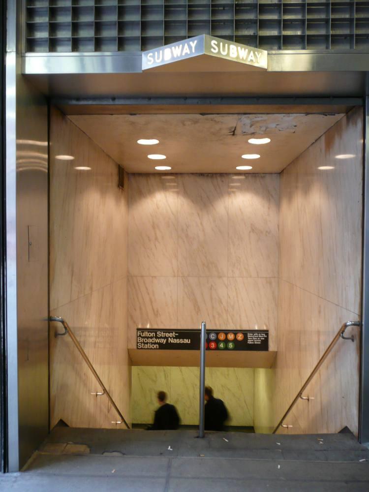(80k, 750x1000)<br><b>Country:</b> United States<br><b>City:</b> New York<br><b>System:</b> New York City Transit<br><b>Line:</b> IRT West Side Line<br><b>Location:</b> Fulton Street<br><b>Photo by:</b> Robbie Rosenfeld<br><b>Date:</b> 5/5/2008<br><b>Notes:</b> Station entrance.<br><b>Viewed (this week/total):</b> 1 / 3864