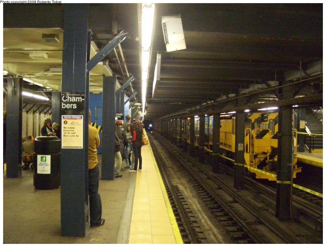 (225k, 1044x791)<br><b>Country:</b> United States<br><b>City:</b> New York<br><b>System:</b> New York City Transit<br><b>Line:</b> IRT West Side Line<br><b>Location:</b> Chambers Street<br><b>Route:</b> Work Service<br><b>Car:</b> R-77 Locomotive 888 <br><b>Photo by:</b> Roberto C. Tobar<br><b>Date:</b> 5/3/2008<br><b>Viewed (this week/total):</b> 1 / 3096