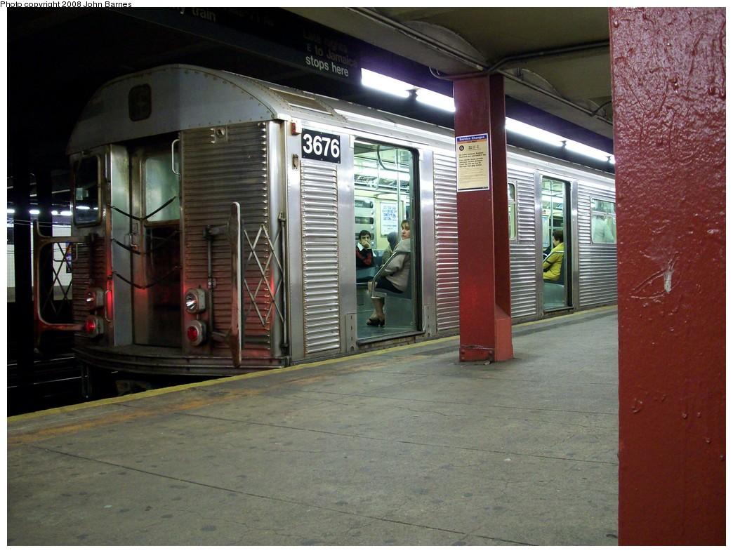 (227k, 1044x788)<br><b>Country:</b> United States<br><b>City:</b> New York<br><b>System:</b> New York City Transit<br><b>Line:</b> IND Queens Boulevard Line<br><b>Location:</b> 36th Street<br><b>Route:</b> E<br><b>Car:</b> R-32 (Budd, 1964) 3676 <br><b>Photo by:</b> John Barnes<br><b>Date:</b> 5/11/2008<br><b>Viewed (this week/total):</b> 5 / 2995