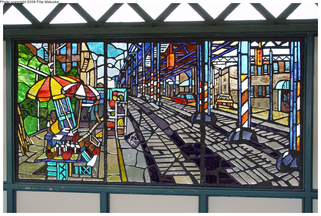 (317k, 1044x705)<br><b>Country:</b> United States<br><b>City:</b> New York<br><b>System:</b> New York City Transit<br><b>Line:</b> IRT White Plains Road Line<br><b>Location:</b> Freeman Street<br><b>Photo by:</b> Filip Matuska<br><b>Date:</b> 6/12/2007<br><b>Artwork:</b> <i>The El</i>, Daniel Hauben, 2005<br><b>Viewed (this week/total):</b> 8 / 2780