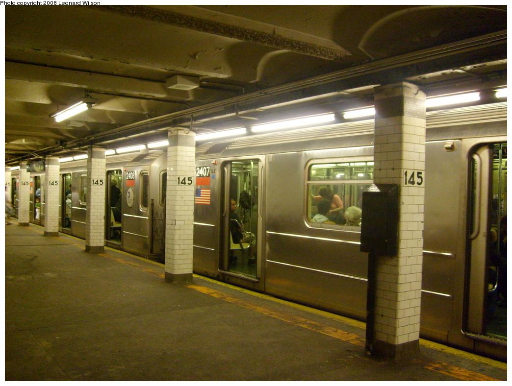 (262k, 1044x788)<br><b>Country:</b> United States<br><b>City:</b> New York<br><b>System:</b> New York City Transit<br><b>Line:</b> IRT West Side Line<br><b>Location:</b> 145th Street<br><b>Route:</b> 1<br><b>Car:</b> R-62A (Bombardier, 1984-1987) 2407 <br><b>Photo by:</b> Leonard Wilson<br><b>Date:</b> 5/15/2008<br><b>Viewed (this week/total):</b> 3 / 3686