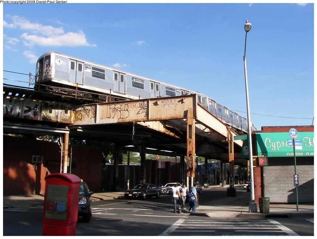 (280k, 1044x788)<br><b>Country:</b> United States<br><b>City:</b> New York<br><b>System:</b> New York City Transit<br><b>Line:</b> BMT Nassau Street-Jamaica Line<br><b>Location:</b> Cypress Hills<br><b>Route:</b> Z<br><b>Car:</b> R-42 (St. Louis, 1969-1970) 4732 <br><b>Photo by:</b> David-Paul Gerber<br><b>Date:</b> 6/11/2008<br><b>Viewed (this week/total):</b> 2 / 4347