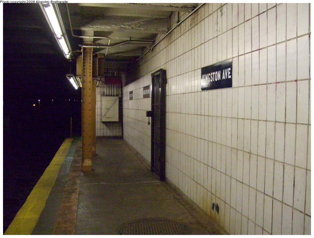 (246k, 1044x791)<br><b>Country:</b> United States<br><b>City:</b> New York<br><b>System:</b> New York City Transit<br><b>Line:</b> IRT Brooklyn Line<br><b>Location:</b> Kingston Avenue<br><b>Photo by:</b> Aliandro Brathwaite<br><b>Date:</b> 6/15/2008<br><b>Notes:</b> Platform extension w/ different tile.<br><b>Viewed (this week/total):</b> 1 / 2360