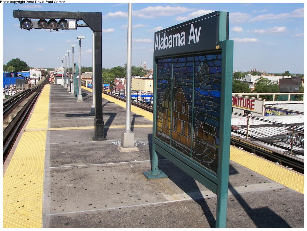 (327k, 1044x788)<br><b>Country:</b> United States<br><b>City:</b> New York<br><b>System:</b> New York City Transit<br><b>Line:</b> BMT Nassau Street-Jamaica Line<br><b>Location:</b> Alabama Avenue<br><b>Photo by:</b> David-Paul Gerber<br><b>Date:</b> 6/11/2008<br><b>Notes:</b> Platform view.<br><b>Viewed (this week/total):</b> 1 / 1628
