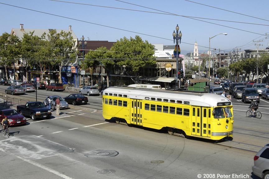 (215k, 864x574)<br><b>Country:</b> United States<br><b>City:</b> San Francisco/Bay Area, CA<br><b>System:</b> SF MUNI<br><b>Location:</b> Market/16th/Noe<br><b>Route:</b> F-Market<br><b>Car:</b> SF MUNI PCC (Ex-SEPTA) (St. Louis Car Co., 1947-1948) 1063 <br><b>Photo by:</b> Peter Ehrlich<br><b>Date:</b> 6/11/2008<br><b>Notes:</b> Market/Noe/16th Street outbound.<br><b>Viewed (this week/total):</b> 0 / 636