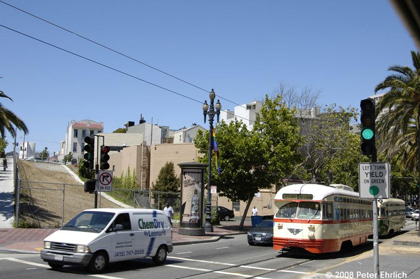 (196k, 864x574)<br><b>Country:</b> United States<br><b>City:</b> San Francisco/Bay Area, CA<br><b>System:</b> SF MUNI<br><b>Location:</b> Market/Octavia<br><b>Route:</b> F-Market<br><b>Car:</b> SF MUNI PCC (Ex-NJTransit, Ex-Twin City) (St. Louis Car Co., 1946-1947) 1079 <br><b>Photo by:</b> Peter Ehrlich<br><b>Date:</b> 6/11/2008<br><b>Notes:</b> Market/Octavia Blvd. outbound.  With 1055 (Philadelphia green/cream) following.<br><b>Viewed (this week/total):</b> 0 / 584