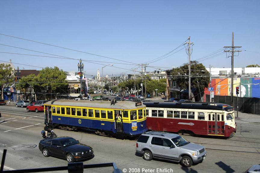 (185k, 864x574)<br><b>Country:</b> United States<br><b>City:</b> San Francisco/Bay Area, CA<br><b>System:</b> SF MUNI<br><b>Location:</b> Market/16th/Noe<br><b>Route:</b> F-Market<br><b>Car:</b> SF MUNI B-Type (Jewett Car Co, 1914) 130 <br><b>Photo by:</b> Peter Ehrlich<br><b>Date:</b> 6/11/2008<br><b>Notes:</b> Market/Noe/16th Street outbound. With 1007 (Red Arrow) inbound.<br><b>Viewed (this week/total):</b> 0 / 607