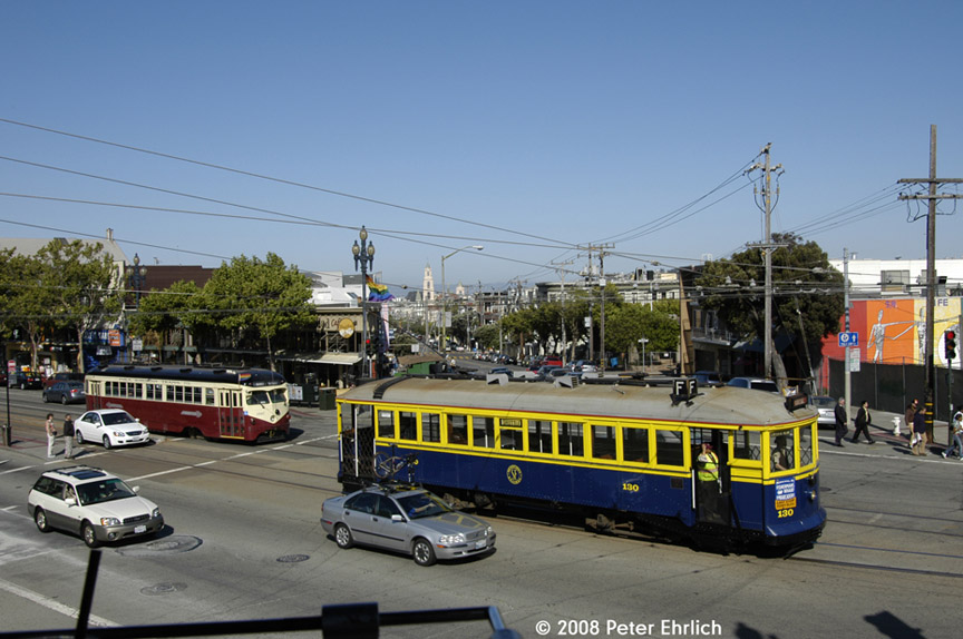 (180k, 864x574)<br><b>Country:</b> United States<br><b>City:</b> San Francisco/Bay Area, CA<br><b>System:</b> SF MUNI<br><b>Location:</b> Market/16th/Noe<br><b>Route:</b> F-Market<br><b>Car:</b> SF MUNI B-Type (Jewett Car Co, 1914) 130 <br><b>Photo by:</b> Peter Ehrlich<br><b>Date:</b> 6/11/2008<br><b>Notes:</b> Market/Noe/16th Street outbound. With 1007 (Red Arrow) inbound.<br><b>Viewed (this week/total):</b> 0 / 647